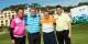 Fred Déhu (Golfoot), Norbert Dickel (Gofus), Martin Wagner (Gofus) und Franck Rolling (Golfoot). Gmeinsames deutsch-französisches Engagement für soziale Zwecke. Foto: Gofus / Golfoot