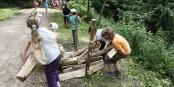 Holzstapeln - eine der Wettkampfarten bei den Waldjugendspielen. Foto: Waldhaus