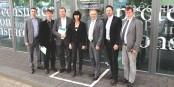 Felix Braun, Jürgen Fischer, Thomas Marwein, Martine Mérigeau, Josha Frey, Christian Tiriou und Bernd Krieger nach dem Treffen. Foto: © ZEV / KL