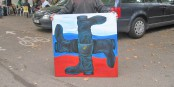 """Ce tableau a été saisi par la police française - vive l'expression libre, vive """"Charlie""""... Foto: Gervaise Thirion"""