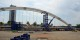 Tandis que le premier tronçon du nouveau pont est déjà orienté, le deuxième est en route depuis la Belgique. Foto: Annette Lipkowski / Ville de Kehl