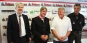 Werner Karlin, Christian Rasch, Leos Sulak und Moderator und Eurojournalist(e)-Redakteur Arne Bicker bei der Saison-Pressekonferenz. Foto: Eurojournalist(e)