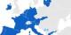 In Blau, die Eurozone (ohne die nördlichen baltischen Staaten und Finnland). Aber was wird aus den Staaten in grau? Foto: Glentamara / Wikimedia Commons / PD