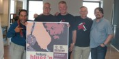 """Die Macher des """"Freiburg Blues´n´Roots Festival"""" von links: Tino Gonzales, Bernd Fahle, Rainer Trendlenburg, Hermann Sumser und Ralf Deckert. Foto: Bicker"""