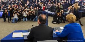 Devant les médias allemands, Hollande semble avoir marqué plus de points que la chancelière. Foto: Claude Truong-Ngoc / Eurojournalist(e)