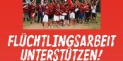 """""""Soutenez le travail en faveur des réfugiés"""" - le SC Freiburg affiche clairement sa position. Foto: SC Freiburg"""