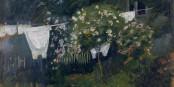"""Bildausschnitt """"Wäsche im Garten in Kandern"""" von August Macke. Foto: Museum für neue Kunst."""