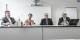 Sie gaben der Transparenzoffensive der katholischen Kirche in Freiburg ein Gesicht (v.l.): Robert G. Eberle (Leiter der Stabsstelle Kommunikation), Dr. Annette Bernards (Präsidentin der Kirchensteuervertretung), Dr. Axel Mehlmann (Generalvikar) und Michael Himmelsbach (Diözesanökonom und Leiter der Finanzabteilung). Foto: Bicker