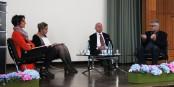 Florence Jany-Catrice, Moderatorin S. Syfuss-Arnaud, Markus C. Kerber und David Bernet - in einer spannenden Diskussion. Foto: Eurojournalist(e)