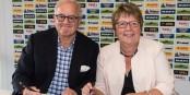 Fritz Keller (Präsident Sport-Club Freiburg), Marion Caspers-Merk (Geschäftsführerin Toto-Lotto GmbH Baden-Württemberg). Foto: SCF / Seeger