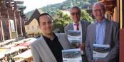 Daniel Charhouli (Promo Verlag), Jean Klinkert et Dr. Bernd Dallmann lors de la présentation du livre à Freiburg. Foto: (c) FWTM