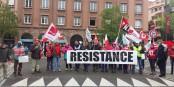 Auch von ver.di  Südhessen kam Solidarität nach Straßburg. Foto: Marc Chaudeur