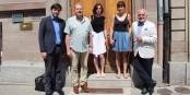 Nicolas Ehler (Institut Goethe),  Jacques Jolas (FEFA), Aurélie de Heinzelin, Capucine Vandebrouk et Jean-Georges Mandon (FEFA) après la signature de la convention. Foto: Eurojournalist(e) CC-BY-SA 4.0int