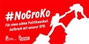 Pendant que Martin Schulz essaie de bricoler une nouvelle Grande Coalition, les Jusos mènent une campagne contre. Foto: Jusos