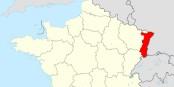 """Die Region in Rot könnte das künftige Departement """"Elsass"""" werden. Das weiter zur Region """"Grand Est"""" gehören wird. Foto: Sting / Wikimedia Commons / CC-BY-SA 3.0"""