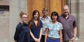 Julie Luzoir, Estelle Chrétien, Violaine Verin (Goethe-Institut Nancy-Strasbourg), Camille Fischer, Jacques Jolas (FEFA). Foto: Eurojournalist(e) / CC-BY-SA 4.0int