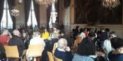 BürgerInnen, die im Empfangssaal der Stadt Strassburg diskutieren - ein schönes Bild! Foto: Magali Metzger