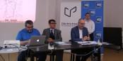 """Laurent Genvo, Hervé de Haro, Félicien Muffler und JJonathan Wahl bei der Pressekonferenz, auf der das """"Rhein-Radio"""" vorgestellt wurde. Foto: Eurojournalist(e) / CC-BY-SA 4.0int"""