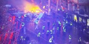 """Die """"friedlichen"""" Demonstranten, die für eine bessere Welt kämpfen. Und die Beifall klatschen, wenn es brennt... Foto: ScS EJ"""