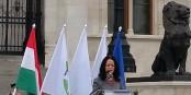 Budapest : un meeting de Parbeszed, parti écologiste de gauche, avec Timea SZABO, la co-présidente.