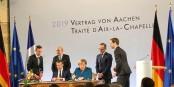 """Emmanuel Macron et Angela Merkel signent le """"Traité d'Aix-la-Chapelle"""" - un nouveau chapitre dans les relations franco-allemandes ? Foto: (c) Patrick Hetzel / EJ 2019 / CC-BY-SA 4.0int"""