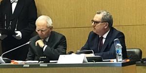 "Hier, Wolfgang Schäuble et Richard Ferrand ont signé l'accord instaurant un ""Parlement Franco-Allemand"". Foto: Courtesy Sylvain Waserman"