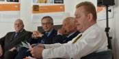 Die Herren Klinkert (Präsident FEFA), Seguy (Präfektur Grand Est), Lehmann (Vize-Präsident FEFA) und Jolas (Generaldelegierter FEFA) bei der Bilanzpressekonferenz. Foto: (c) Jean-Claude Hatterer / Agence BleuComm