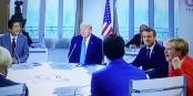 """""""Ich bin schon so gut wie auf dem Weg nach draussen"""", scheint Angela Merkel Justin Trudeau zu sagen... Foto: ScS EJ"""