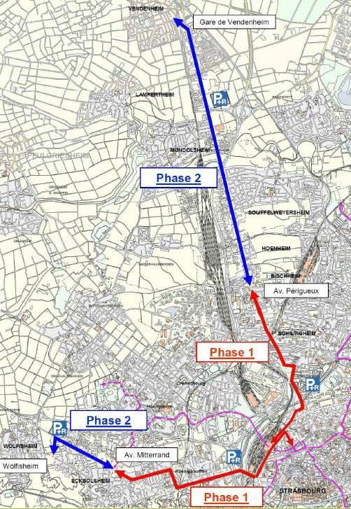 Le tracé initial. Foto: CUS / Eurométropole Strasbourg