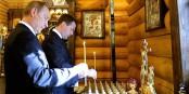 Ob Wladimir Putin und Dmitri Medwedew für die gleichen Dinge beten, darf bezweifelt werden... Foto: Kremlin.ru / Wikimedia Commons / CC-BY-SA 3.0