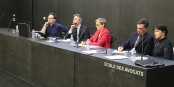Moderator Pascal Coquis (DNA), Jean-Philippe Vetter (LR), Chantal Cutajar (CE), Alain Fontanel (LREM) und Moderatorin Véronique Leblanc (La libre Belgique). Foto: Eurojournalist(e) / CC-BY-SA 4.0int