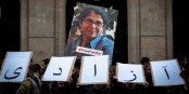 """Ces lettres, portées lors d'une manifestation pour la libération de Fariba Adelkha, disent """"liberté""""... Foto: Laurent Gayer, avec l'accord du FR Support Committee"""