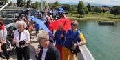 Comme du côté français, les manifestants allemands devaient également braver l'interdiction de traverser la Passerelle des Deux Rives... Foto: Eurojournalist(e) / CC-BY-SA 4.0int