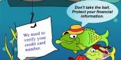 """""""Nous devons vérifier le numéro de votre carte de crédit"""" - """"Ne tombez pas dans le piège, protégez vos informations personnelles""""... Foto: Federal Trade Commission / Wikimedia Commons / PD"""