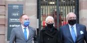 Eric Hamel, Brigitte Klinkert et Jacques Zucker à l'entrée de l'ISEG. Foto: Eurojournalist(e) / CC-BY-SA 4.0int