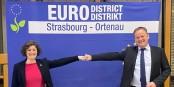 Strasbourg (Jeanne barseghian) und die Ortenau (Frank Scherer) Hand in Hand - so muss die Zukunft am Oberrhein aussehen! Foto: (c) Eurodistrikt Strasbourg-Ortenau