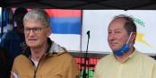 Peter Cleiss und Jacques Schmitt bei einer der vielen Demonstrationen im letzten Sommer. Foto: Eurojournalist(e)
