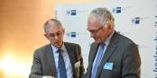 Patrice Harster et Rémi Bertrand, deux architectes de la coopération transfrontalière. Foto: TechnologieRegion Karlsruhe