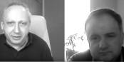 Der bekannte russische Oppositionelle Slava Rabinovich (l.) im Video-Gesprâch mit Olivier Védrine. Foto: EuTalk / The Russian Monitor