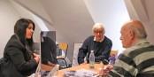 Laurine Roux et Richard Seiler lors de l'entretien dans les bureaux d'Eurojournalist(e). Foto: Lyacine Boulakhras / EJ