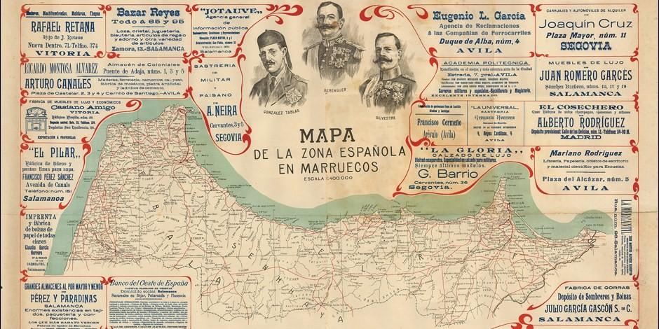 Comme en témoigne cette carte de 1920, le Protectorat Espagnol sur le Maroc couvrait la partie Nord du Maroc. Foto:  Antonio Grilo / Wikimedia Commons / PD