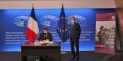 Emmanuel Macron und der Präsident des Europâischen Parlaments David-Maria Sassoli beim offiziellen Start der Konferenz über die Zukunft Europas. Foto: Marine Dumény / EJ / CC-BY-SA 4.0int