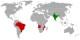 Pays membres de l'ACOLOP - les membres fondateurs sont en rouge et les membres associés sont en vert. Foto: Parutakupiu /  Wikimedia Commons / PD-Self