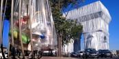Verpackungsmüll - das Wortspiel um die Verpackung des Triumphbogens bedurfte einer Bebilderung, und sie fand sich umgehend an der Avenue Foch. Foto: © Michael Magercord